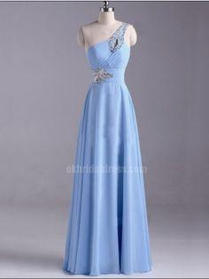 blue one shoulder long rhinestones chiffon junior cheap bridesmaid dress | Cheap full length Sale