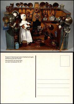 Puppen Spielzeug: Grödnertal Rauchküche m. Holzpuppe, color-AK um1990?   eBay
