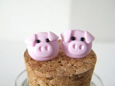 Pig Earrings  Polymer clay pig stud earrings by MadebyIzzyGifts