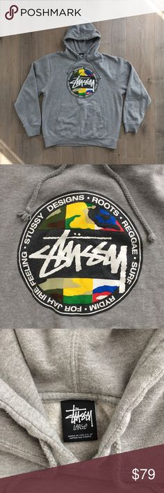 """90's STUSSY Roots Design Reggae Fleece Hoodie L RARE 90's STUSSY Roots Design Reggae Fleece Hoodie Kangaroo Made in USA    Great Pre-Owned Condition Size Men's L   measurements (lying flat):  chest 23"""",    length 26"""" sleeve 25"""" Stussy Shirts Sweatshirts & Hoodies"""