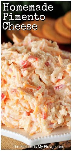 Pimento cheese is a Southern institution! This classic creamy cheese spread is perfect on crackers and in classic pimento cheese sandwiches. And with this recipe, it's super easy to make your own tasty pimento cheese at home. Pimento Cheese Sandwiches, Homemade Pimento Cheese, Pimento Cheese Recipes, Cheese Sandwich Recipes, Homemade Sandwich, Biscuits, Vegan, Southern Recipes, Appetizer Recipes