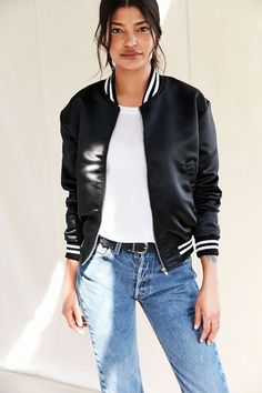 9ae890a2466ab Urban Renewal Recycled Satin Bomber Jacket - Urban Outfitters Vest Jacket