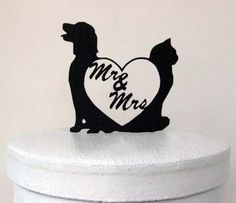Wedding Cake Topper Dog and Cat with Mr and Mrs by Plasticsmith Hochzeitstorte Topper Hund und Katze mit Herrn und Frau von Plasticsmith Cat Wedding, Mr And Mrs Wedding, Wedding Tips, Dream Wedding, Wedding Day, Wedding Dreams, Wedding Bells, Wedding Stuff, Wedding Photos