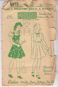 1940s Sewing Pattern Pauline No 4975 Childs by jennylouvintage