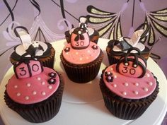 Handbags and shoes cupcakes ~ vanilla cupcakes topped with chocolate buttercream :)