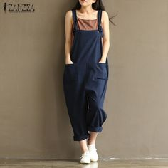 27e5f94b697a6 ZANZEA 2018 Casual Rompers Womens Jumpsuits Sleeveless Backless Casual  Loose Solid Overalls Retro Strapless Playsuits Oversized