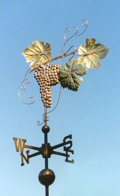 Merlot Grape Weathervane by West Coast Weather Vanes.  This handcrafted Merlot weathervane can be made using a variety of materials.