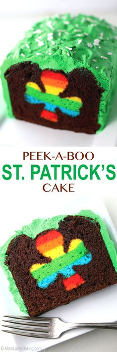 Chocolate loaf cake with green buttercream frosting and rainbow shamrock in the middle. Perfect for St. Patrick's Day!