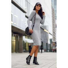 Rochie tricotata dreapta cu lungime medie gri Sweaters, Dresses, Fashion, Tricot, Vestidos, Moda, Fashion Styles, Sweater, Dress