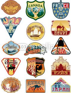 Travel labels vector collection