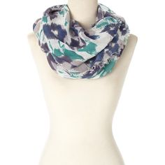 LA Double 7 Blue & White Abstract-Floral Infinity Scarf ($9.99) ❤ liked on Polyvore featuring accessories, scarves, floral infinity scarf, infinity scarf shawl, infinity loop scarf, infinity loop scarves and infinity circle scarf