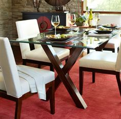 Delve into the finer facets of dining in autumn with the Pier 1 Bennett Dining Table and Bal Harbor Dining Chairs