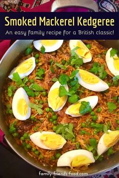 Easy to make, this smoked mackerel kedgeree is a delicious, lightly spiced family dinner that's a balanced meal of rice, veggies Lunch Recipes, Crockpot Recipes, Salad Recipes, Vegetarian Recipes, Dinner Recipes, Healthy Recipes, Smoked Mackerel, British Dishes, Spiced Rice