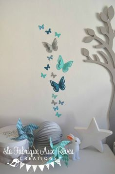 Décoration chambre bébé turquoise caraïbe, bleu pétrôle/bleu canard ...