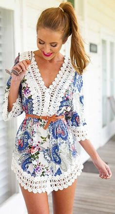 Blue Floral Patchwork Lace 3/4 Sleeve Dress