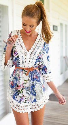 Blue Floral Patchwork Lace 3/4 Sleeve Dress