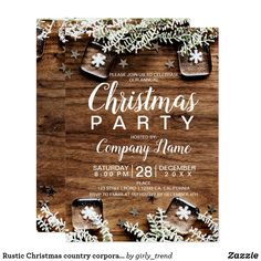 rustic christmas country corporate pine snow invitation
