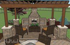 Outdoor patio fireplace patio with pergola over fireplace area patio designs and ideas backyard outdoor fireplace Backyard Patio Designs, Pergola Designs, Pergola Patio, Backyard Landscaping, Patio Ideas, Pergola Ideas, Stone Backyard, Steel Pergola, White Pergola