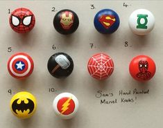 Marvel DC Superhero inspired Hand Painted Drawer Door Knobs Batman Captain America Thor Hulk Spiderman Various designs available by TinyPaintBox on Etsy Marvel Boys Bedroom, Avengers Bedroom, Batman Bedroom, Superhero Bathroom, Superhero Room, Painted Drawers, Painted Doors, Boys Room Decor, Kids Room