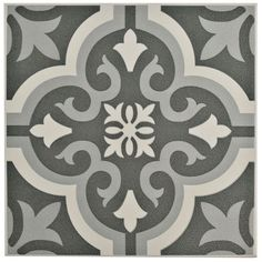 Merola Tile Braga Black 7-3/4 in. x 7-3/4 in. Ceramic Floor and Wall Tile (10.76 sq. ft. / case), Black/Grey And White/Low Sheen