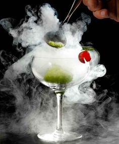 """Midnight Mary #Cocktail """"A cascade of smoke pours from the vessel as the liquid nitrogen sizzles in the bowl...'"""