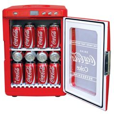 Perfect for in the games room, workshop, dormitory, kitchen or office, this countertop Coca-Cola themed refrigerator keeps up to 28 cans of your favorite beverage chilled and ready to enjoy. Coca Cola Mini, Coca Cola Kitchen, Coca Cola Decor, Outdoor Movie Nights, At Home Movie Theater, Mini Fridge, Kitchen Items, Kitchen Gadgets, Coke