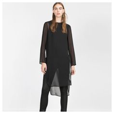 Zara Woman long top size Medium Super chic Zara long side slit tunic sheer top size Medium. Long top-hi/low-long back, side vents/slits, long sheer sleeves, sleeveless inside tank.  Retails for $60 in great used shape, only worn a few times(5-6). Zara Tops
