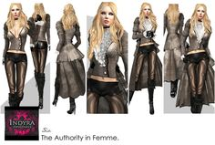 Second Life Marketplace - Indyra Originals :Couture Sia: Fog - 2 way Vintage tailcoat Set- collar, leggings & leather gloves