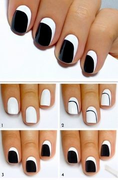 Easy Black & White Nails Art Design , Just like top coat / Best LoLus Nails Fashion