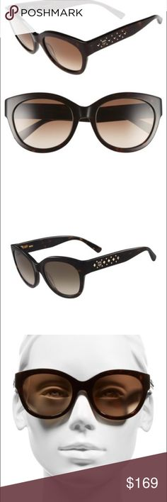 Gorgeous mcm retro sunglasses A rounded, retro-inspired silhouette featuring polished dome-and-pyramid studs at the temples defines striking Italian-crafted sunglasses with gradient lenses. Sunglasses Fit Guide - 56mm-20mm-140mm (eye-bridge-temple) - 100% UV protection - CR-39 lenses - Plastic - Importedt MCM Accessories Sunglasses