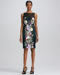 Sleeveless Floral-Panel Cocktail Dress by Badgley Mischka Collection at Neiman Marcus.