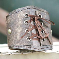 Leather Corset  Wrist Wallet Cuff with Secret Pocket -- OOAK -- Bronzed Brown. $70.00, via Etsy.