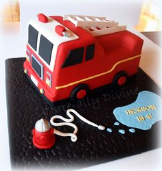 fire engine birthday cakes | Fire Engine cake for my little man's 4th birthday.All edible except ...