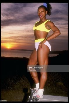 Gail Devers poses for a picture. Get premium, high resolution news photos at Getty Images Gail Devers, Athletes, Bikinis, Swimwear, Track, Poses, Pictures, Image, Fashion