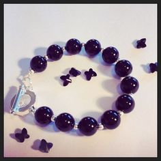 Black onyx beads with silver plated spacer beads and toggle clasp. Handmade in Ireland by The Crystal Den Crystal Beads, Crystals, Black Onyx, Den, Silver Plate, Beaded Bracelets, Drop Earrings, Ireland, Handmade