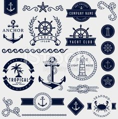 Ad: Sea and nautical design elements. by JuliaMalinovskaya on Vector collection of graphic embellishments for sea, tropical vacation, travel and nautical themes. The kit contains: text dividers, Nautical Logo, Nautical Design, Nautical Theme, Nautical Bedroom, Nautical Sleeve, Nautical Clipart, Nautical Quotes, Nautical Bachelorette, Nautical Interior