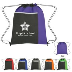 #3382 Non-Woven Drawstring Pack With Large Front Pocket