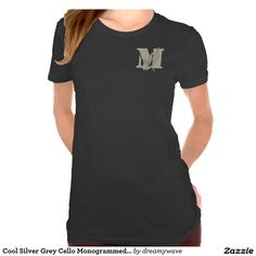 Cool Silver Grey Cello Monogrammed T-shirt #cello #monogrammed #personalized