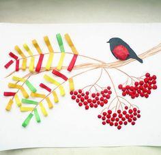 ОСЕННИЕ ПОДЕЛКИ. Аппликация рябина, выполненная из полос цветной бумаги и пластилина.