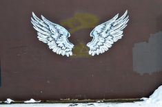 Angel Wings hand painted by The SignSmith on the side of his shop, Saskatoon SK Hand Painted Signs, Angel Wings, Superhero Logos, Moose Art, Shop, Painting, Painting Art, Paintings, Painted Canvas