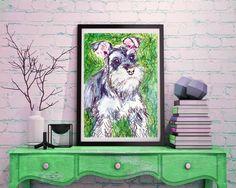 Schnauzer painting, dog Painting, Schnauzer Print , watercolor, art print, Schnauzer Dog Art,……