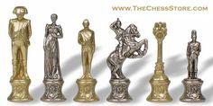 Chess.  Napoleon Theme Chess Set Brass & Nickel by Italfama.  http://www.thechessstore.com/product/MS092MIT/Napoleon-Chess-Set.html