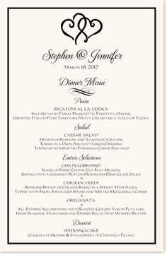 Two Linked Hearts Wedding Menu Cards And Reception Menus Custom Designed For Your Or Rehearsal With Wording