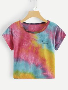 Tie dye t-shirt with letter print Retro Outfits, Cool Outfits, Casual Outfits, Summer Outfits, Camisa Tie Dye, Tie Day, Tie Dye Fashion, Tie Dye Outfits, Girls Fashion Clothes