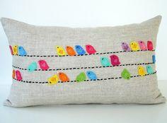 Sukan / Color Birds Pillows - Designer Pillow - Raw Linen PIllow - Decorative Throw Pillows - Cushion Covers - Lumbar Pillow Cover Do this design in canvas curtains Funny Pillows, Cute Pillows, Diy Pillows, Decorative Pillows, Throw Pillows, Pillow Crafts, Lumbar Pillow, Pillow Ideas, Fabric Crafts