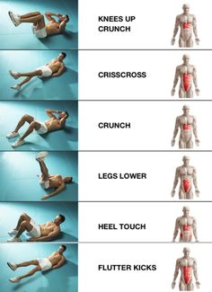 Core workouts ranging from easiest in light blue to hardest in red