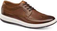 Men's Elliston Wingtip Sneakers is part of Shoes - A wingtip toe adds a note of sophistication to these leather laceup sneakers from Johnston & Murphy Dress With Sneakers, Casual Sneakers, Casual Shoes For Men, Mens Fashion Shoes, Sneakers Fashion, Men's Fashion, Fashion Sites, Fashion Guide, Fashion Boots