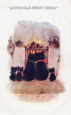 Cat Family by the Fire  Very nice vintage by sharonfostervintage, $5.00