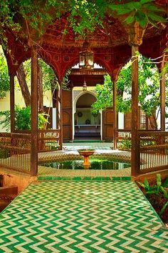 Gazebo with a fountain in the gardens of Bahia Palace - Marakesh, Morocco - built by a grand vizier at the end of the 19th c.