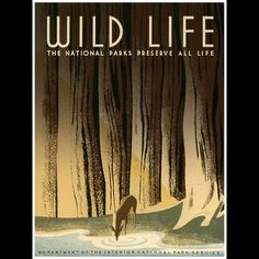 A great National Parks Service poster celebrating America's wild life! From FDR's Works Progress Administration (WPA). Check out the rest of our excellent selection of WPA posters! Need Poster Mounts. Poster A3, Lost Poster, Wpa Posters, Retro Poster, Music Posters, Wpa National Park Posters, Us National Parks, Wild Life, Ep Logo